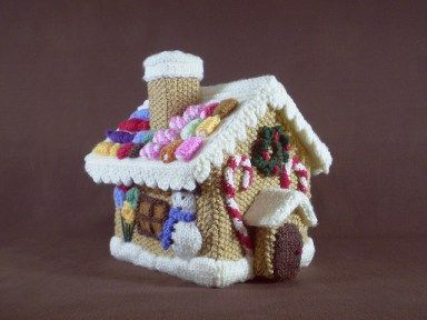 Free knitting pattern for Gingerbread House by Frankie Brown and more Christmas decorations knitting patterns