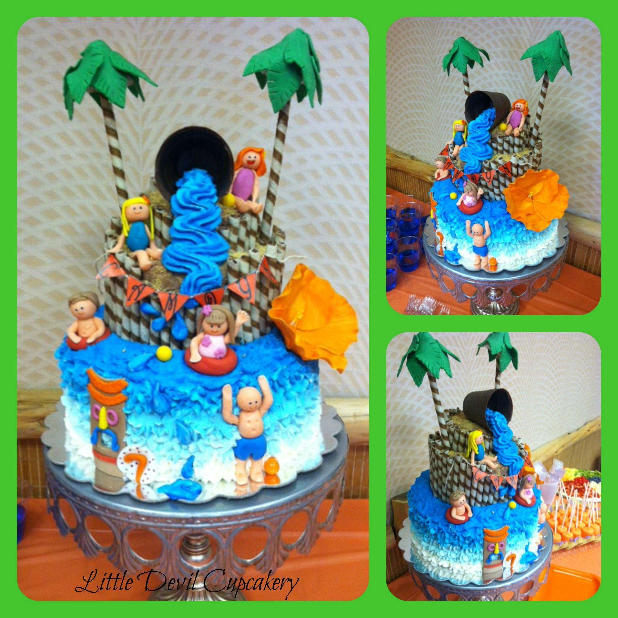 Water park theme birthday cake little devil cupcakery for Amusement park decoration ideas