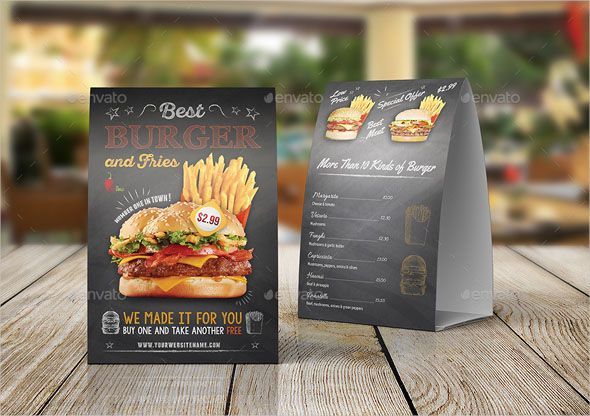 Burger Restaurant Table Tent Template Table Tent Design Description Burger Restaurant Tabl Restaurant Menu Design Menu Design Template Restaurant Advertising