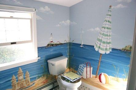 Custom hand painted beach bathroom murals by MacMurray ...