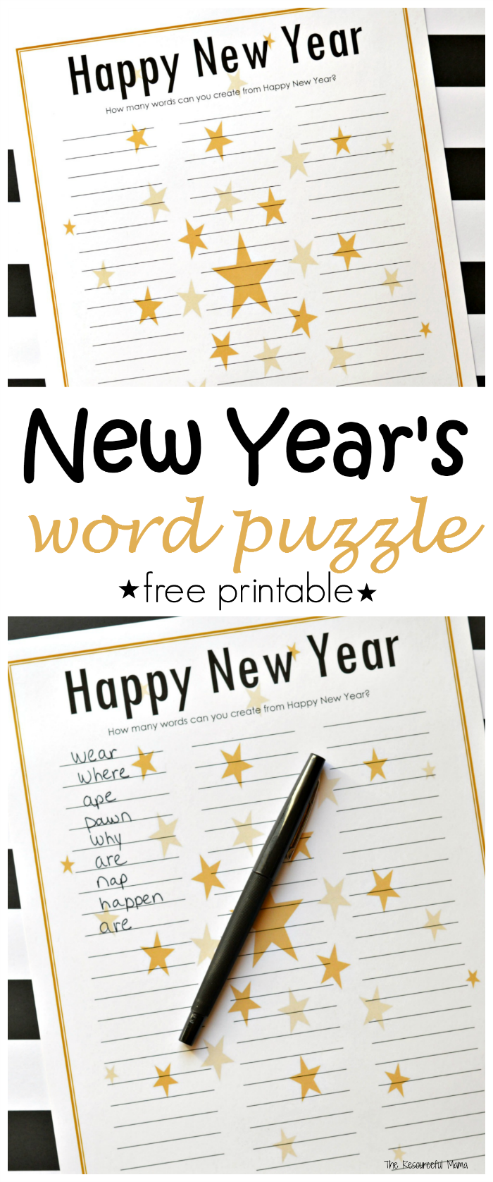45a00b9068b7 This Happy New Year word puzzle is a fun and entertaining New Year s Eve  activity for kids and adults that can easily be turned into a competition  or game.