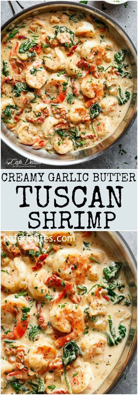 Creamy Garlic Butter Tuscan Shrimp coated in a light and creamy sauce filled with garlic, sun dried tomatoes and spinach! Packed with incredible flavours! | cafedelites.com #shrimppasta