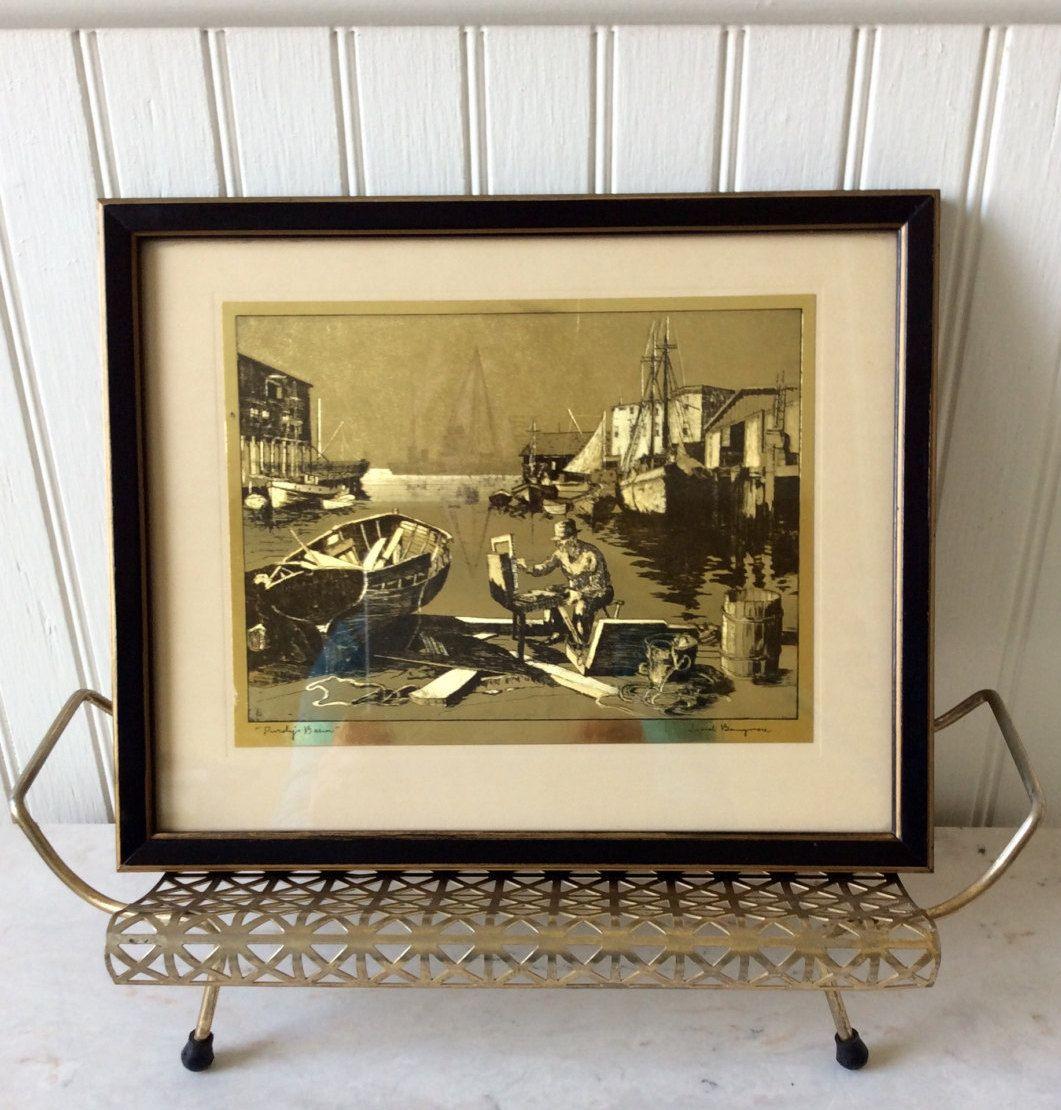 Vintage metalic gold foil etching black framed print