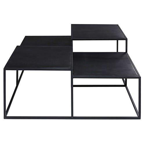 table basse 4 plateaux en mtal noir