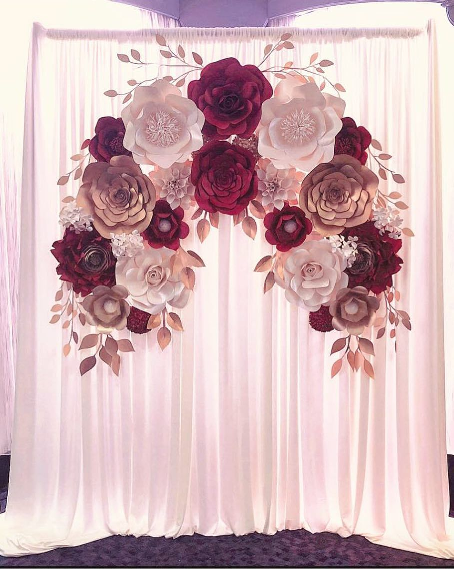 Elegant Engagement Paper Flower Backdrop Burgundy Gold And Cream