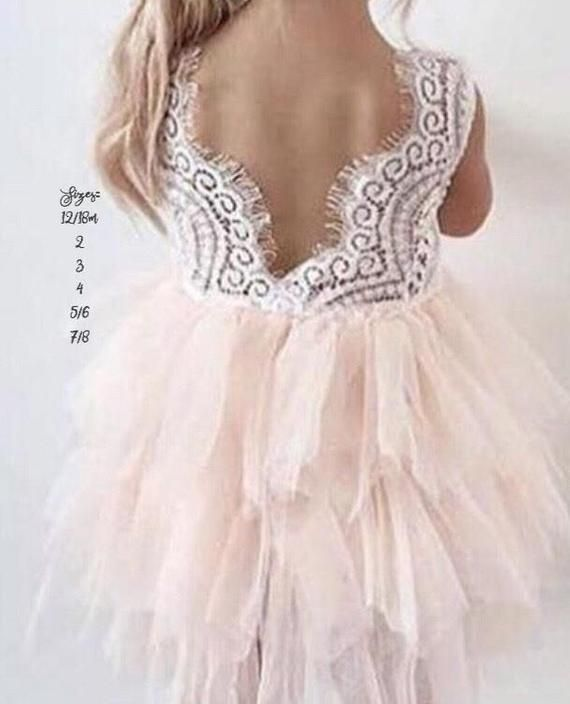 edb803ae75e Amazon.com  Topmaker Backless A-line Lace Back Flower Girl Dress (3T ...