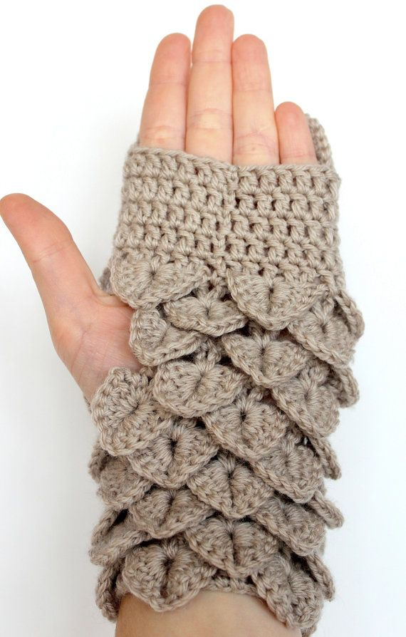 Hand Crocheted Fingerless Gloves, Owl, Clothing and Accessories ...