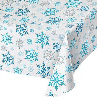 The Party Aisle Plastic Snowflake Swirls Tablecloth #christmasparty