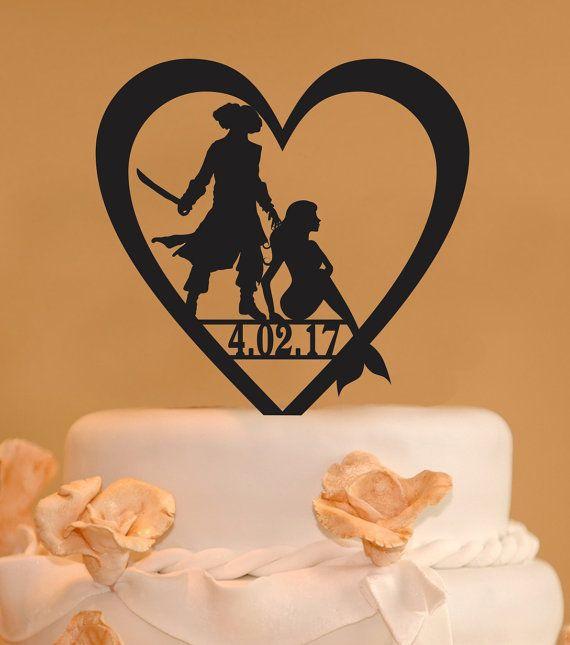 Pirate wedding cake topper Pirate and Mermaid Wedding Cake