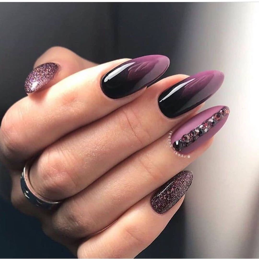 The Most Elegant And Beautiful Almond Nails Purple Nails Studded Nails Fall Nail Art Designs