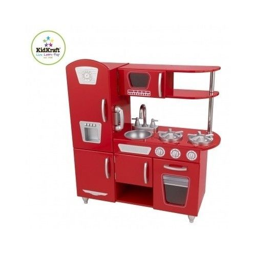 Kitchen Playset For Kids Stove Fridge Red Vintage Uptown Retro Microwave Phone #KidKraft