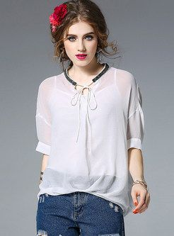 Nail Bead Asymmetry Loose Half Sleeve Blouse With Camis