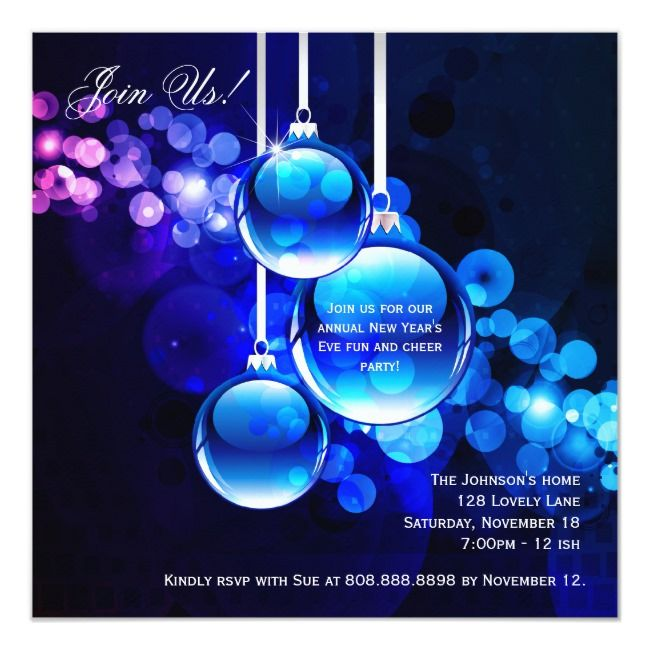 New Year's Eve Balls Party Blue Invite