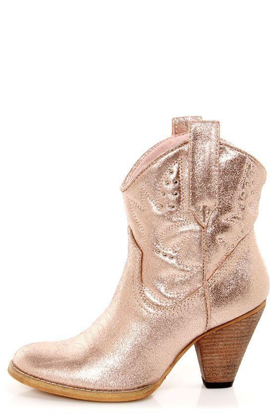 Very Volatile Bolo Rose Gold Metallic Embroidered Cowboy Boots - plastik mobe phantastisch