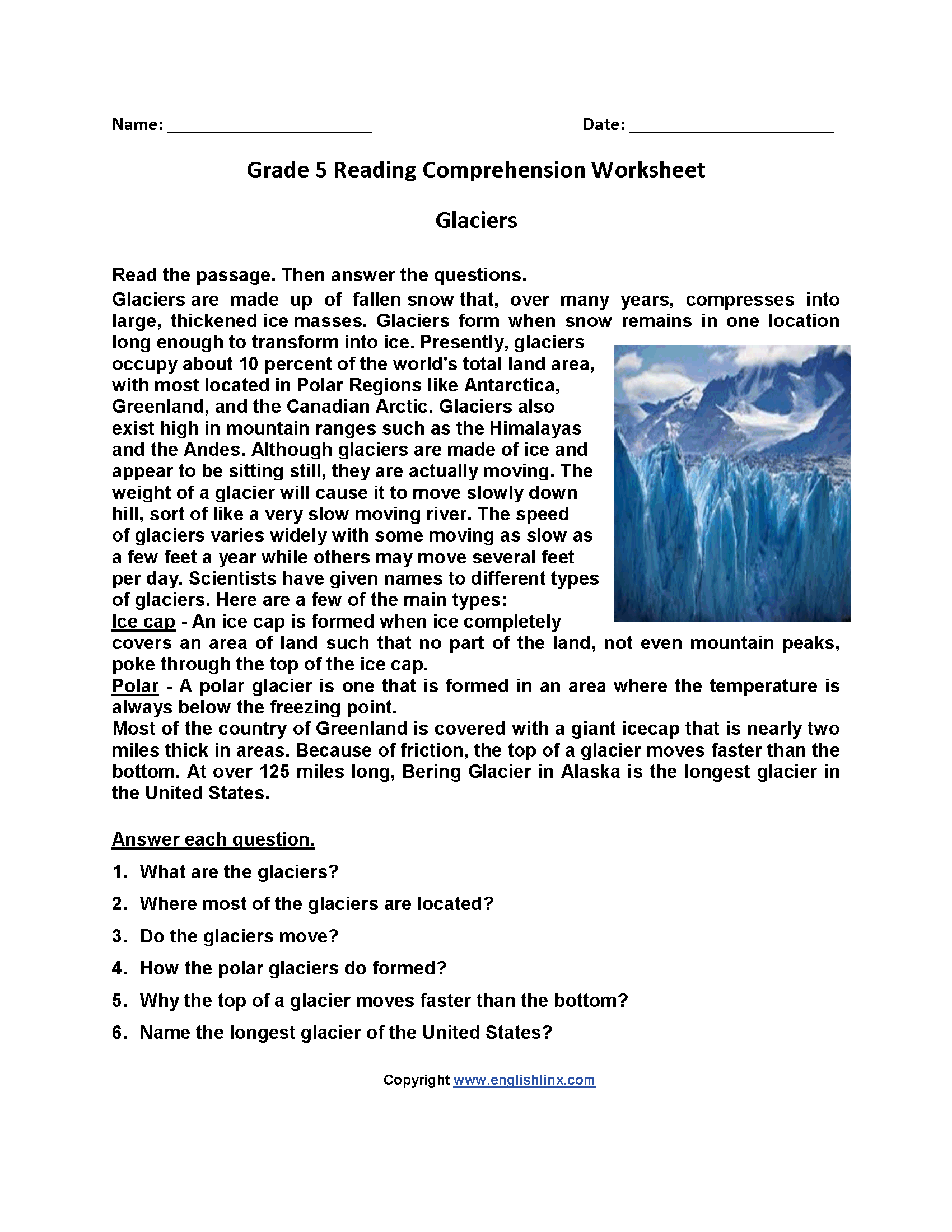 Glaciers Fifth Grade Reading Worksheets   Reading comprehension worksheets [ 2200 x 1700 Pixel ]