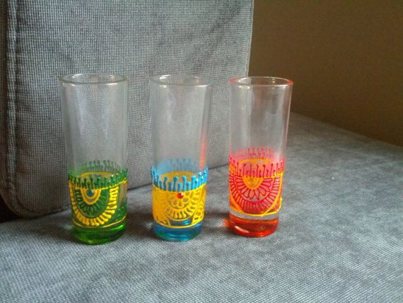 Henna Party Gifts : Set of tall colorful shot glasses henna mehndi wedding bachelor