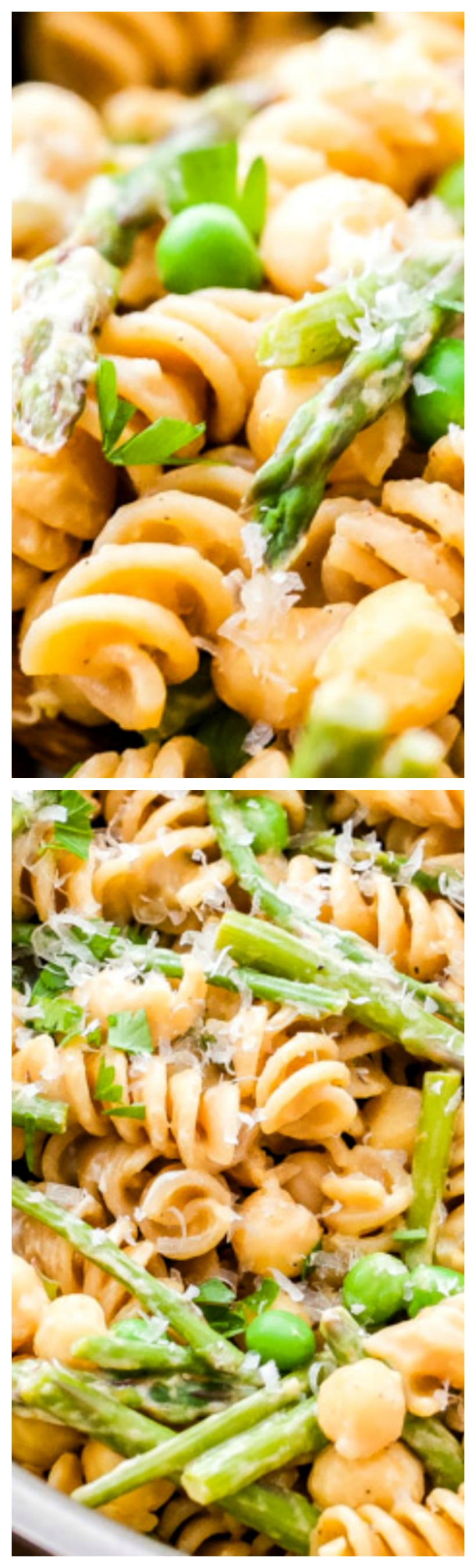 One Pot Creamy Lemon Goat Cheese Pasta with Chickpeas and Asparagus ~ The perfect healthy, vegetarian, comfort food dinner for weeknights... Made with whole wheat pasta, fresh lemon and asparagus, chickpeas and creamy goat cheese to tie it all together.
