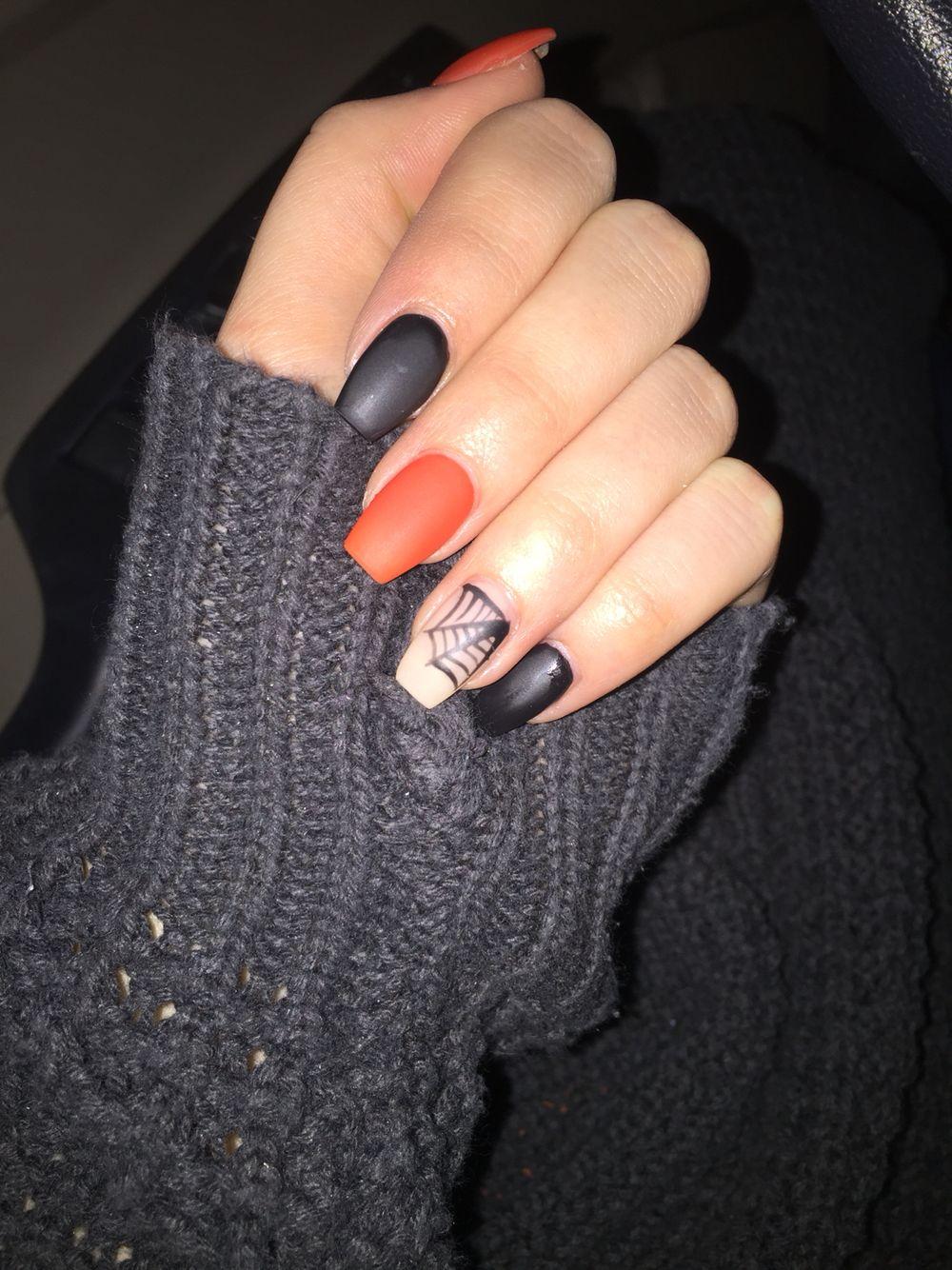 Halloween Nails Halloween Nails Fallnails Matte Acrylicnails Orange Black Nails Nail Time Beauty