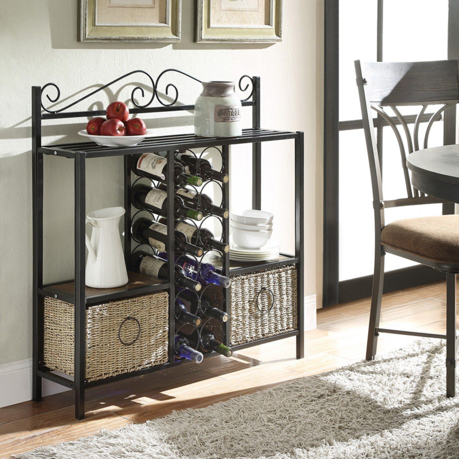 4d Concepts Windsor Storage And Wine Rack With 2 Baskets In 2020