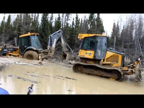 ▷ Backhoe Stuck in Deep Mud Water | Excavator Accident