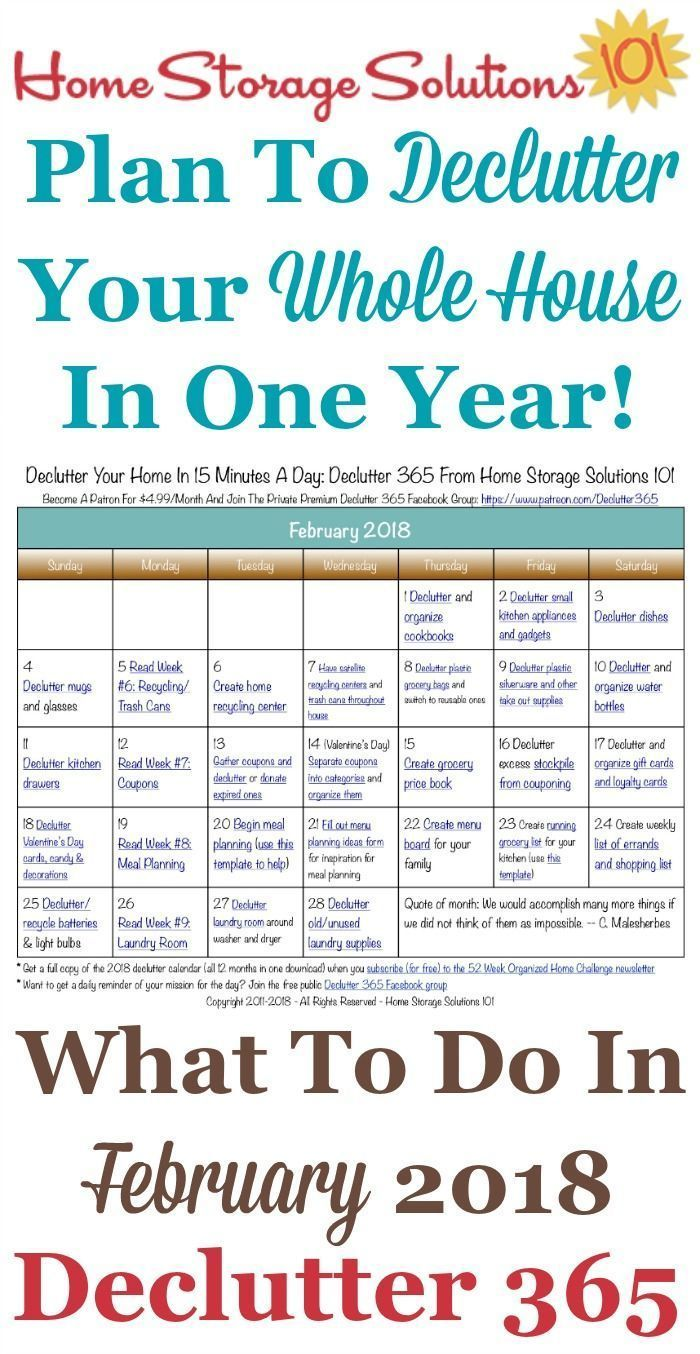 February Declutter Calendar 15 Minute Daily Missions For Month