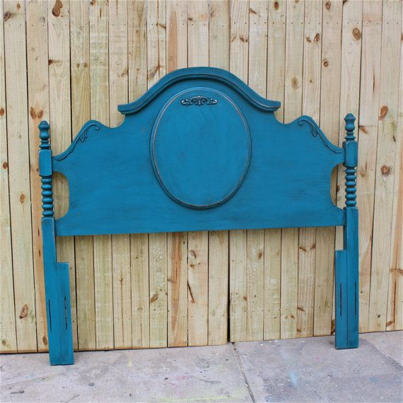 Gypsy Teal Queen Bed Vintage Headboard Shabby Chic Bedroom Painted Furniture