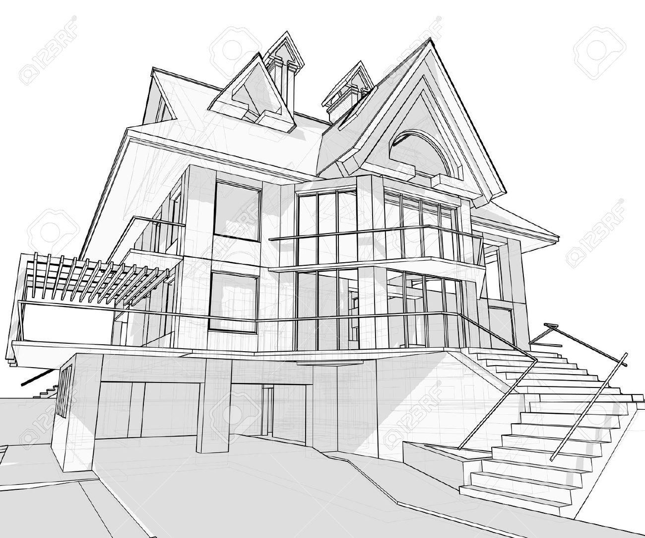 House Vector Technical Draw