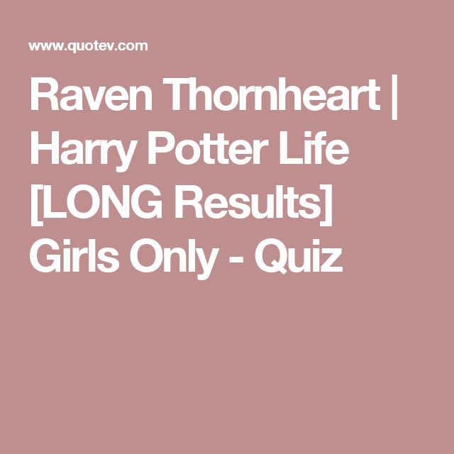 harry potter dating quiz long results