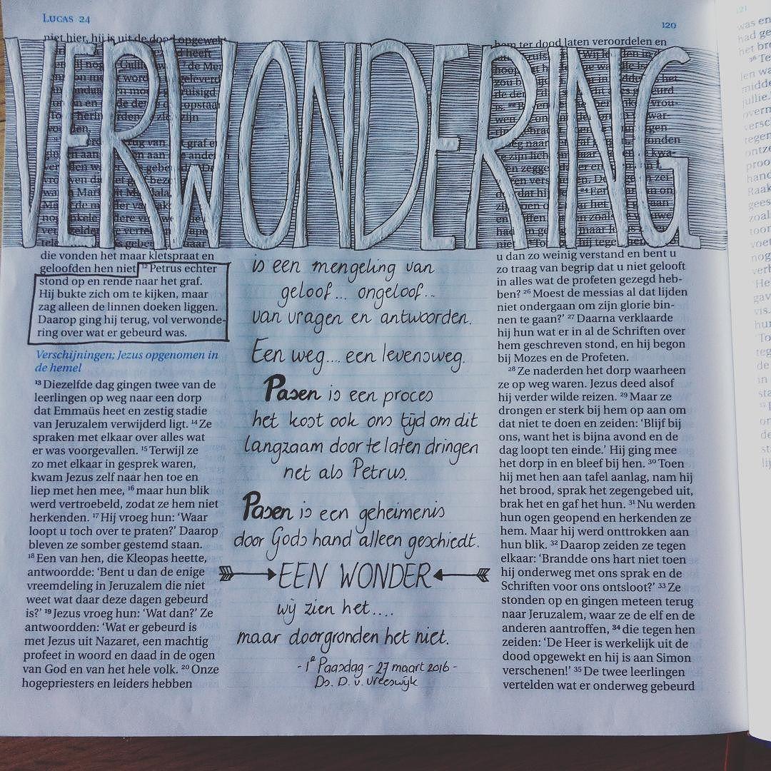 Lukas 24:12 Verwondering is een mengeling van geloof...ongeloof...van vragen en antwoorden. Een weg...een levensweg.  Luke 24:12 Wondering is a mix of faith...disbelief...about questions and answers. A way...a way of life.#creatiefmetjegeloof #kreaneeltje #biblejournaling #whitepen by kreaneeltje