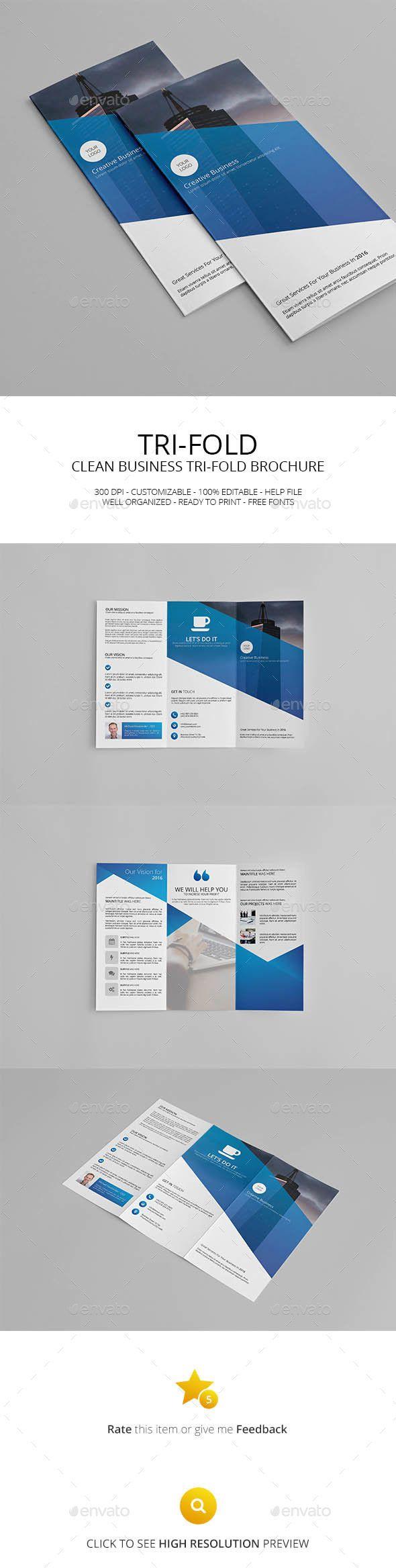 Clean Business Tri Fold Brochure Template Psd Design Download Http