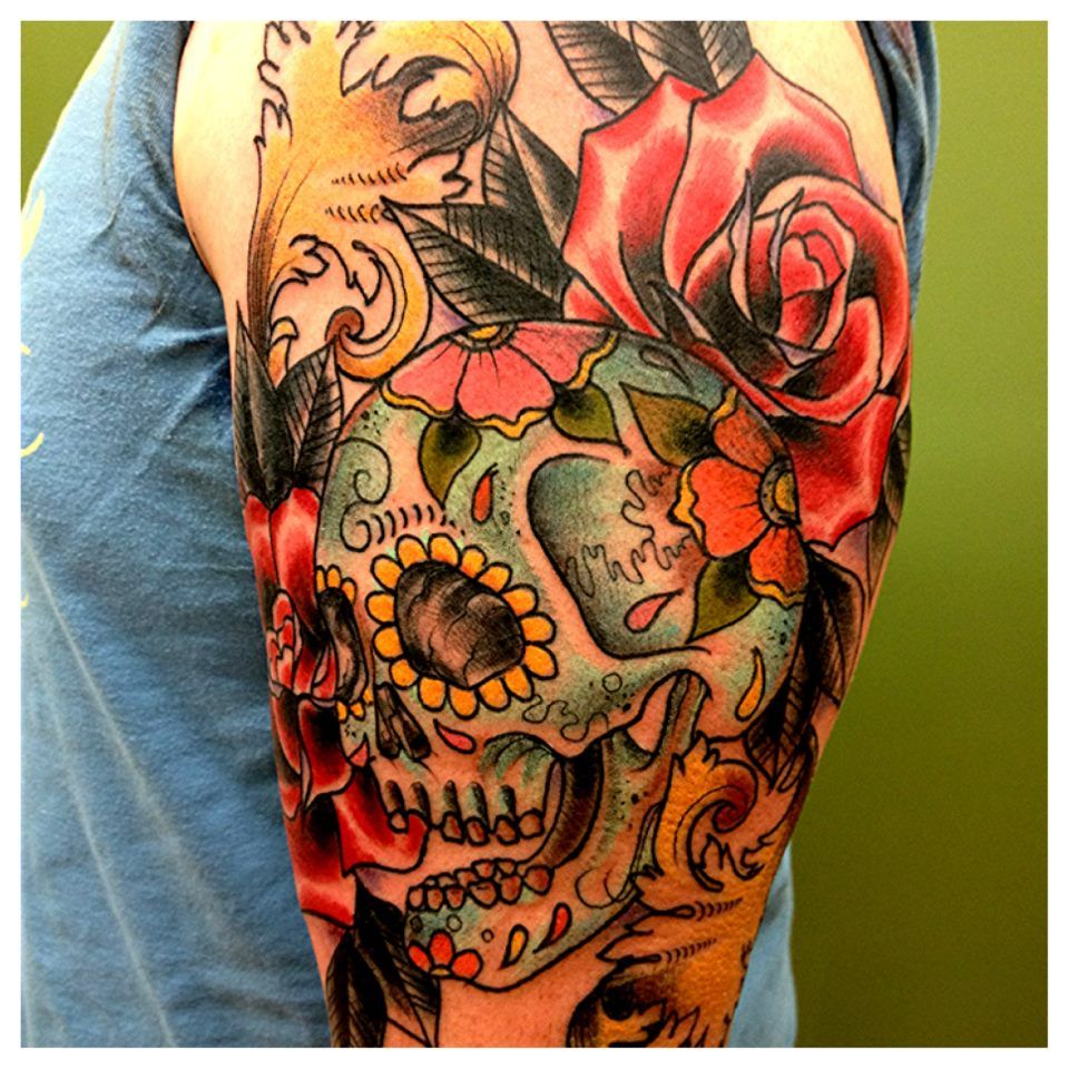 Tats pinterest gun tattoos skulls and tattoos and body art - Skull Sleeve Picture Photo Design Idea For Men And Women Rose Tattoo