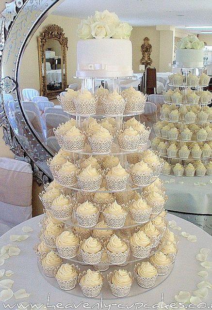 White Wedding Cupcake Tower In 2019 Wedding Cupcakes White