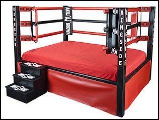 Wrestling Ring Bed Realistic Poles Ropes Turnbuckles Corner Cushions