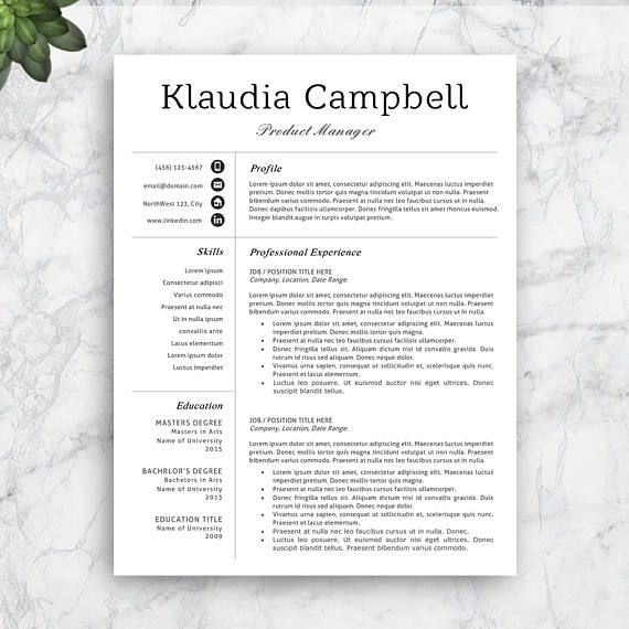Professional Resume Template, Easily Editable in Word or Pages