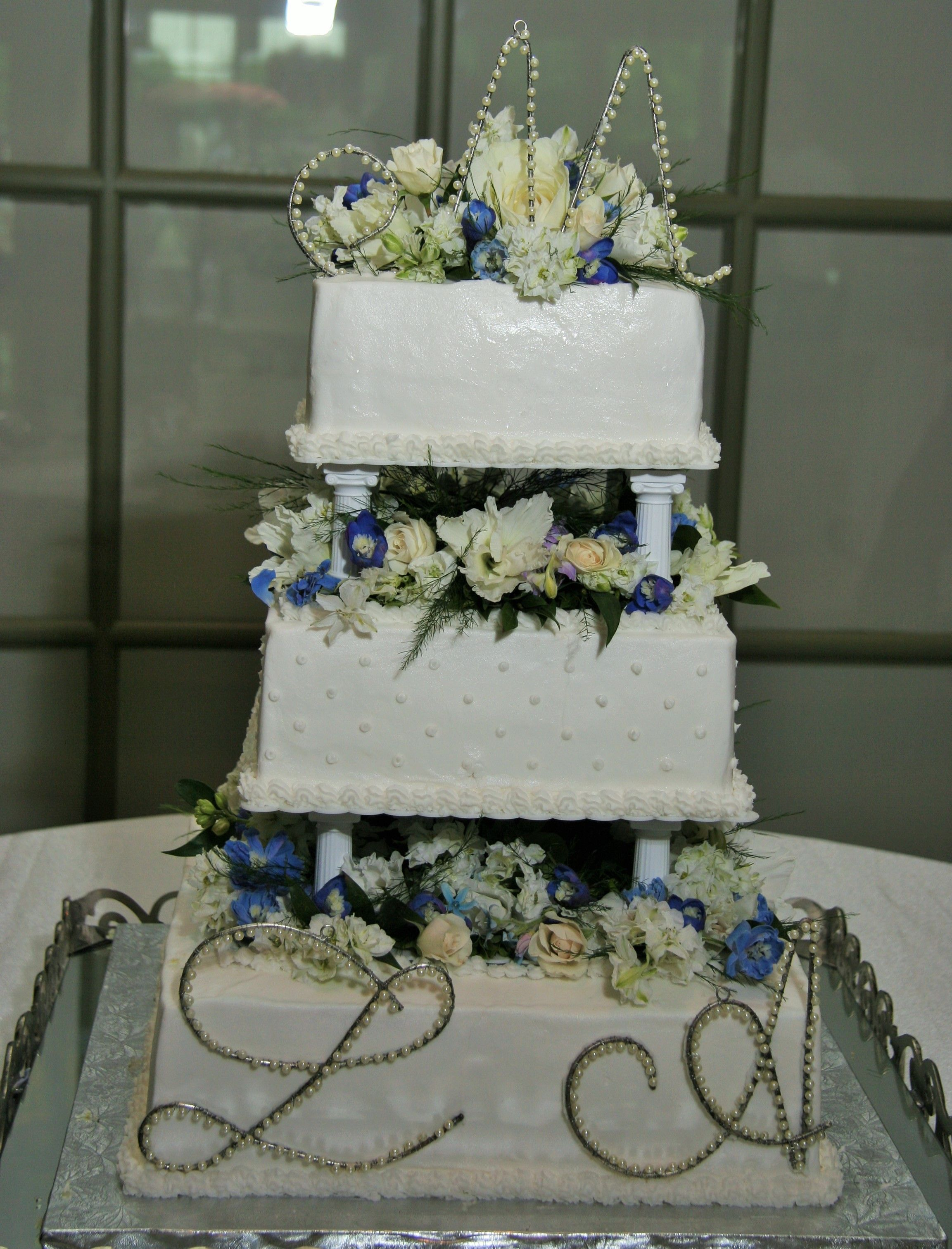 3 Tier Square Wedding Cake with Columns and Pearl Initials Cakes