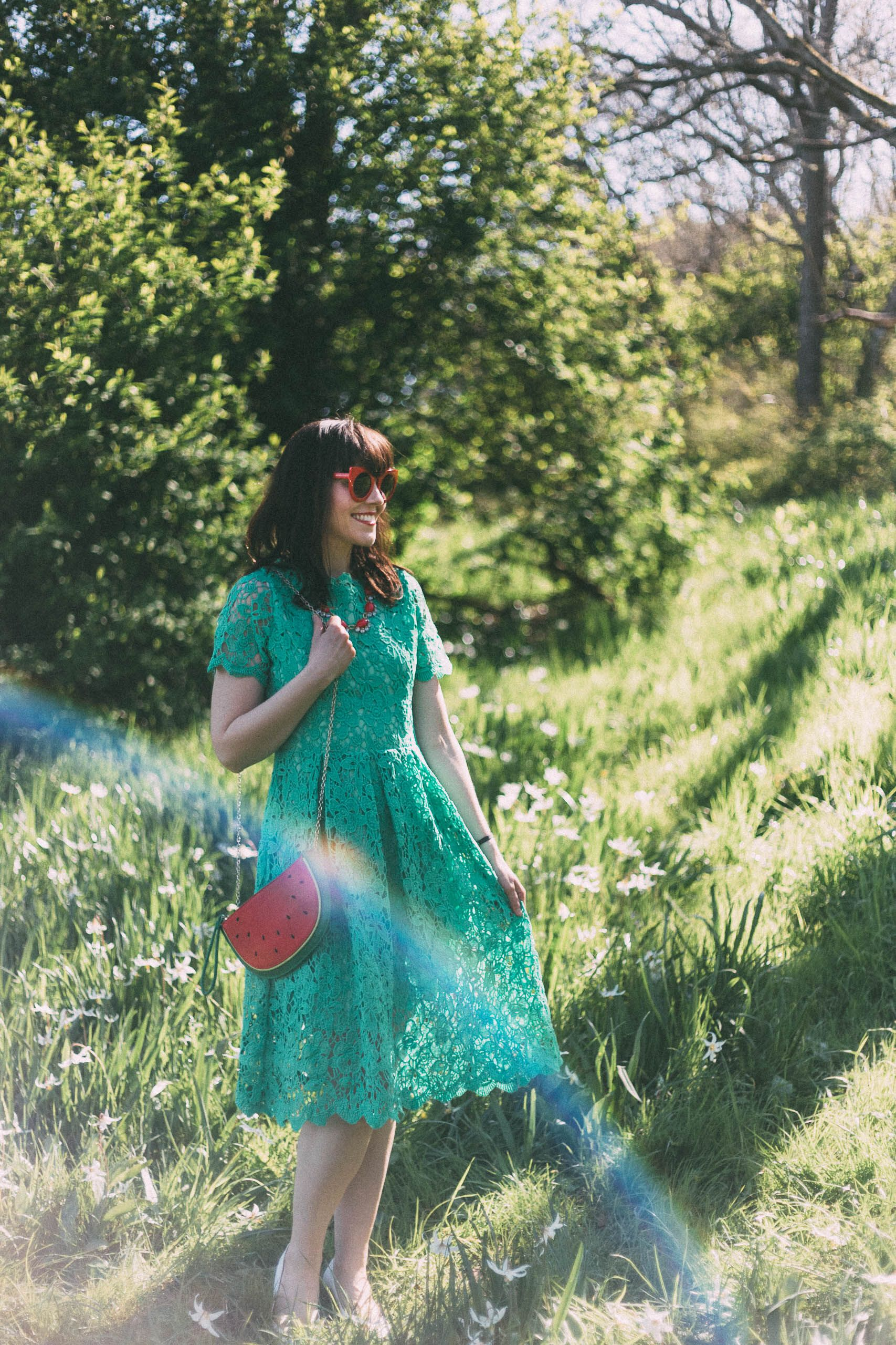 Floral Holiday Crochet Dress in Green, Watermelon bag, Chic Wish ...