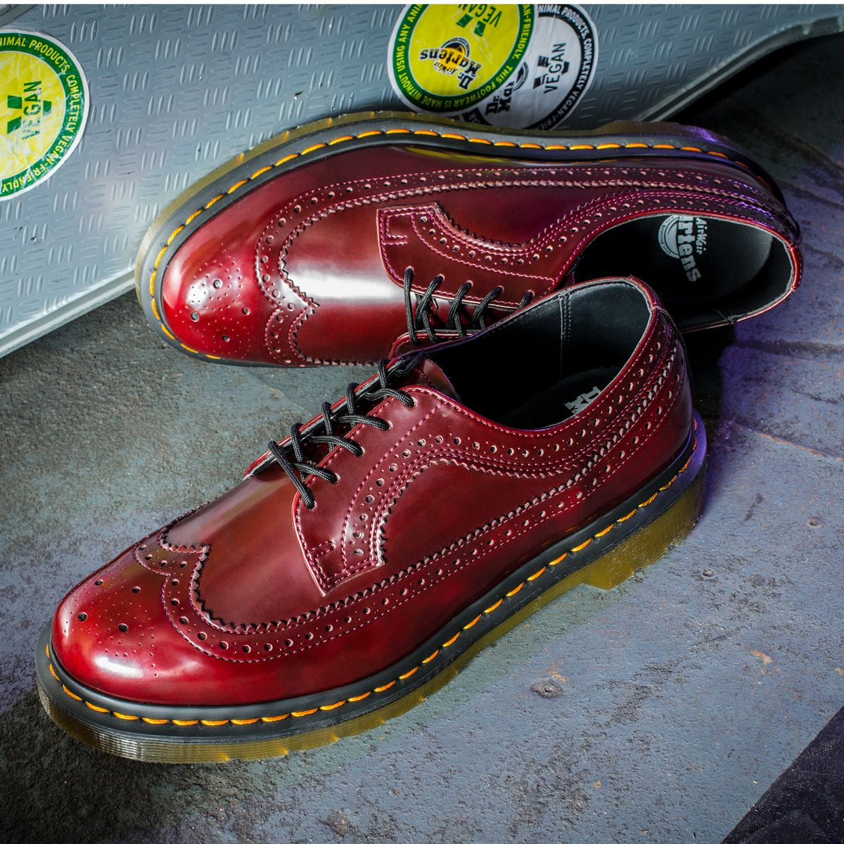 5276f52d9aa4a 3989 Vegan Brogue. A classic style in high-shine cherry red and featuring  our iconic yellow stitch.