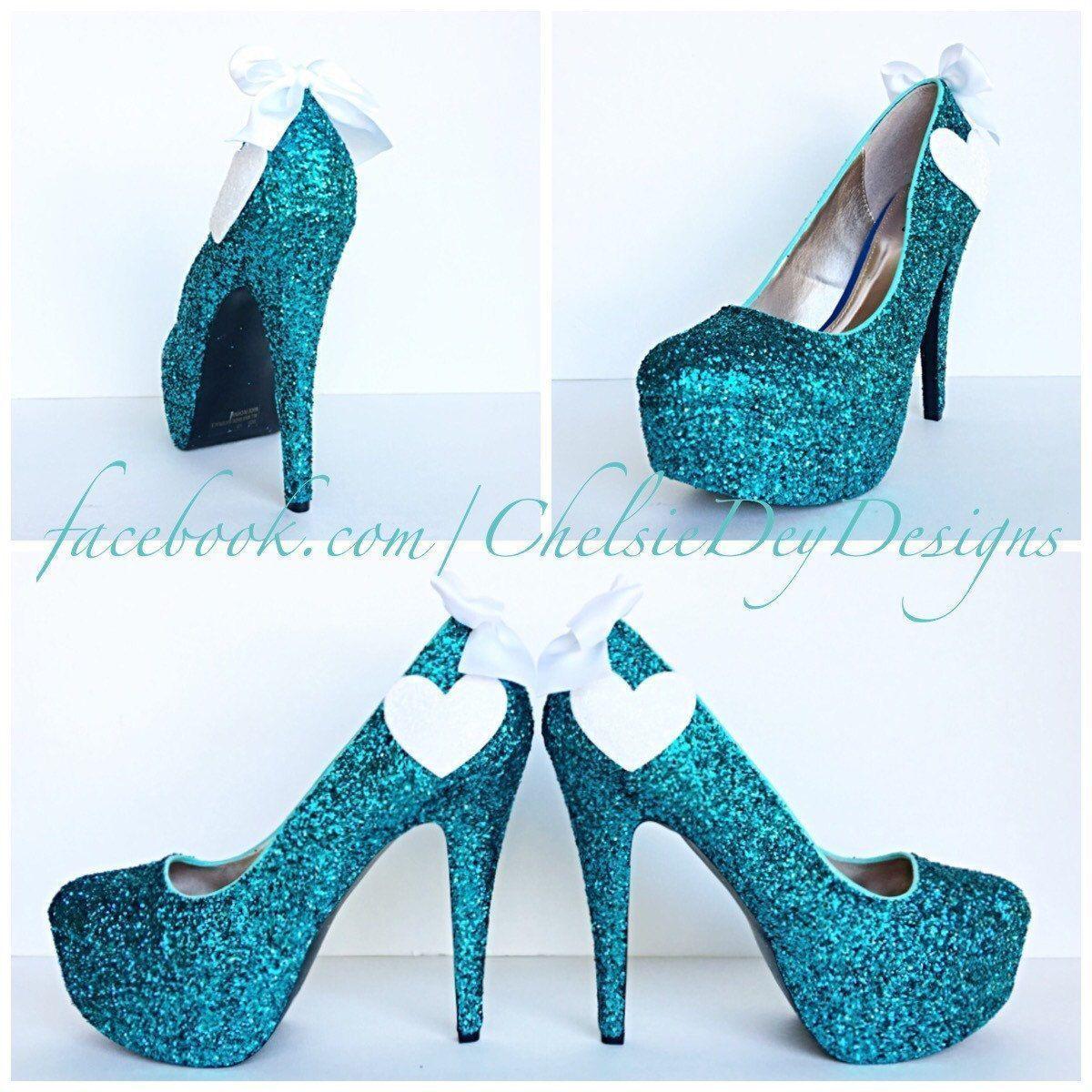 Teal glitter high heels aqua turquoise blue pumps white hearts