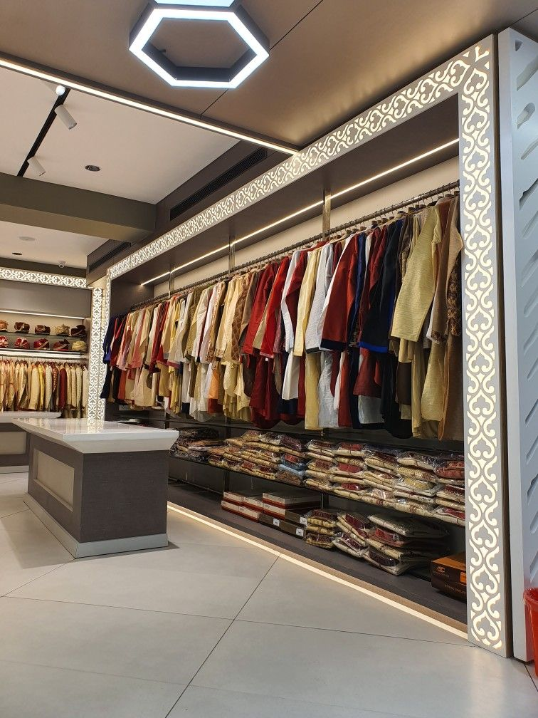 Retails Store Fashion Interiors Ethenic Menswear India Backlit Grill Aeconsite Modern Un Store Design Interior Showroom Interior Design Clothing Store Interior