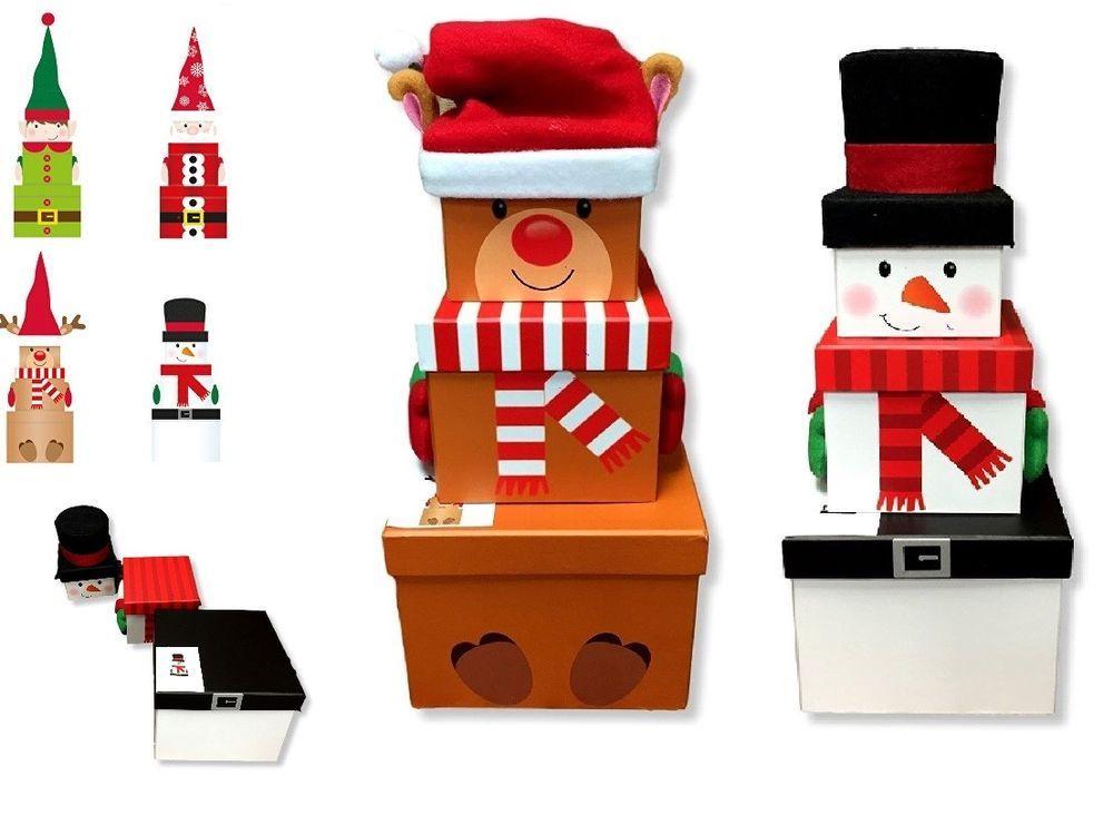 Gift Boxes Christmas Santa Face Nested Box