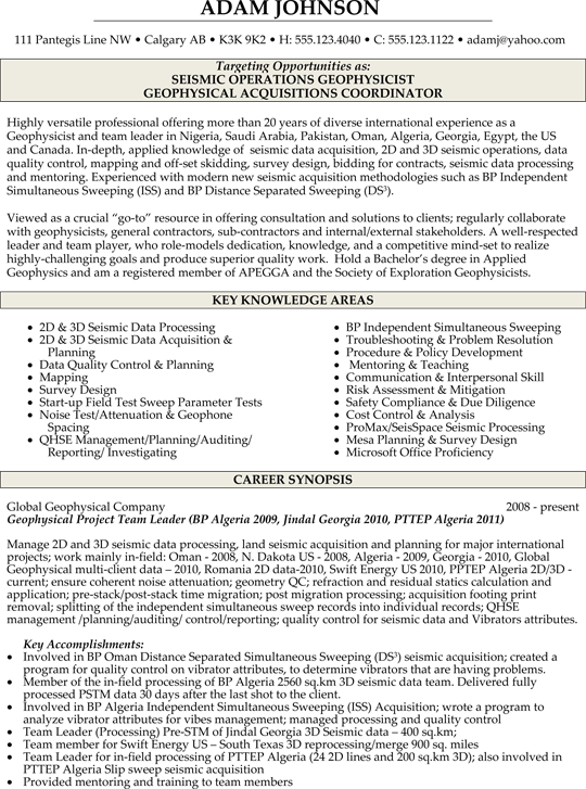 Geophysicist Resume Sample | Resume | Pinterest