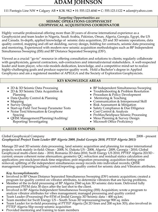Geophysicist Resume Sample Professional Resume Writing Service Resume Resume Writing Services