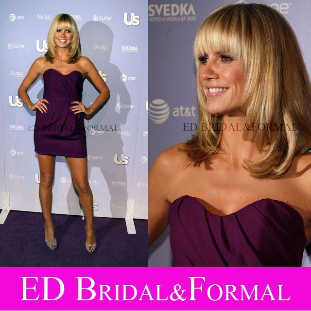 Heidi Klum kleid lila cocktail party heiß hollywood heißeste stil ...