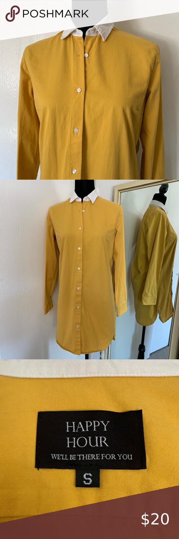 Long Sleeve Mustard Yellow Button-Up Shirt Dress L