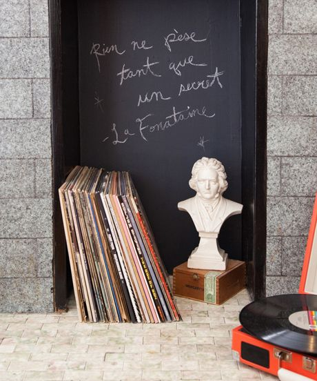 chalkboard wall in a small space