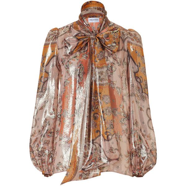 EMILIO PUCCI Rosewood And Orange Lurex Silk Top ($1,100) ❤ liked on Polyvore