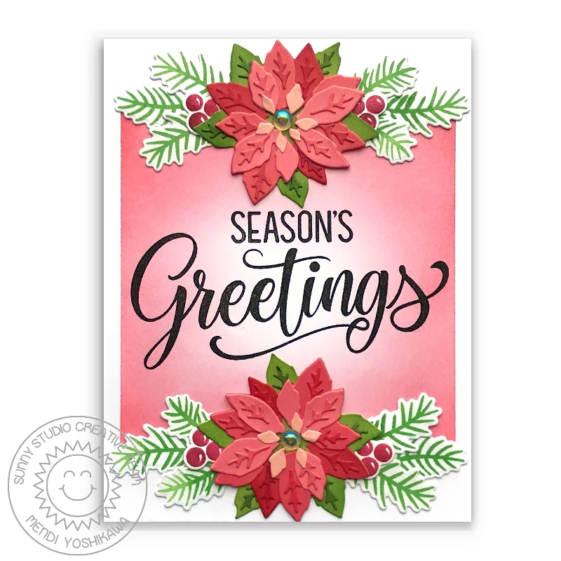 Layered Poinsettia Die Christmas cards, Christmas