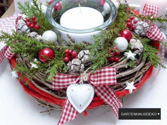 tischkranz herzl weihnachten etsy weihnachtsdeko. Black Bedroom Furniture Sets. Home Design Ideas