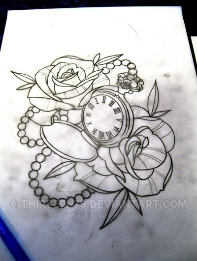 outline rose and pocket watch tattoo design idea time tattoo outlines pinterest pocket. Black Bedroom Furniture Sets. Home Design Ideas