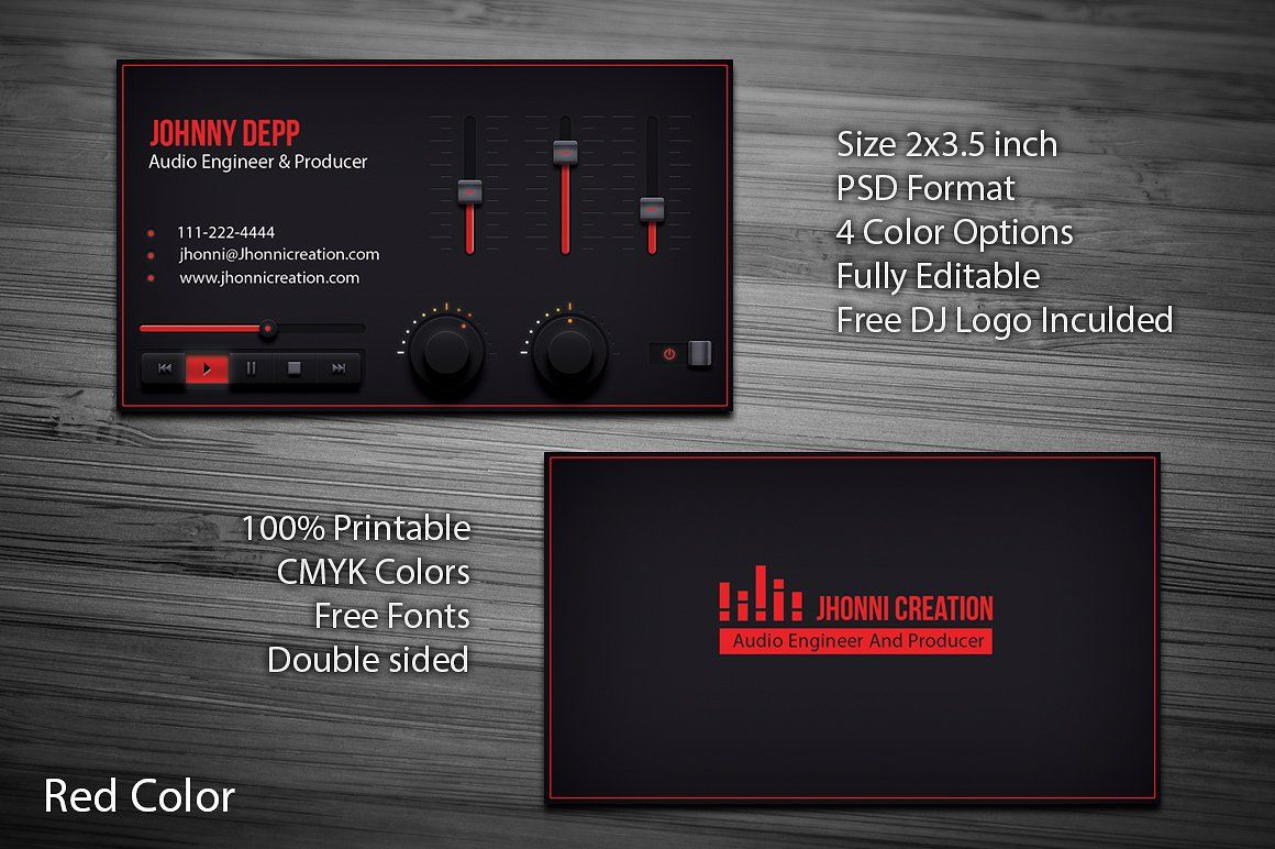 Music Producer And Dj Business Card Dj Business Cards Dj Music Business Cards